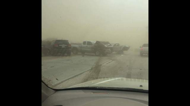 Blowing Dust Triggers 17 Car Pile Up On Southbound Highway 99