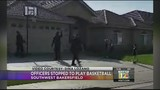 Police officers make time to play basketball with kids after call